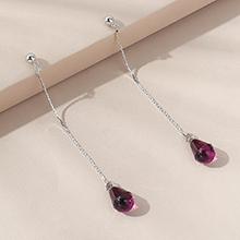 奥地利水晶耳环--优雅水滴(紫色)