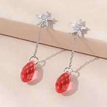 奥地利水晶耳环--逝水年华(水莲红)