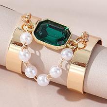 欧美时尚创意复古气质大牌珍珠戒指(深绿)