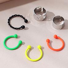 欧美时尚个性创意夸张小众耳夹套装(白K)