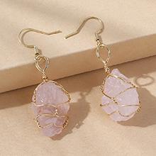 欧美百搭时尚简约创意天然水晶耳环(粉色)