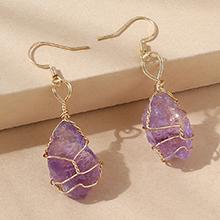 欧美百搭时尚简约创意天然水晶耳环(紫色)