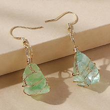 欧美百搭时尚简约创意天然水晶耳环(绿色)
