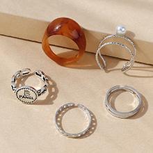欧美复古气质大牌流行时尚树脂珍珠戒指套装(咖啡色)