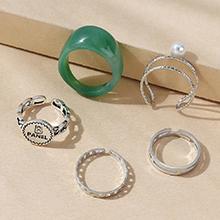 欧美复古气质大牌流行时尚树脂珍珠戒指套装(深绿)