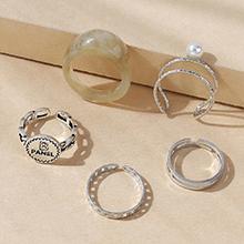欧美复古气质大牌流行时尚树脂珍珠戒指套装(浅灰)