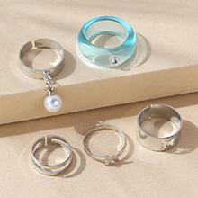 韩版复古时尚百搭气质大牌树脂珍珠戒指套装(海蓝)