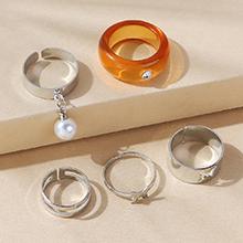 韩版复古时尚百搭气质大牌树脂珍珠戒指套装(橙色)