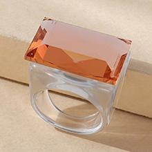 欧美简约小清新百搭时尚戒指(白+橙)