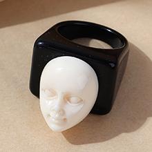 欧美创意个性夸张百搭树脂人脸戒指