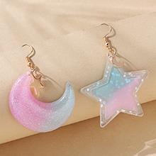 韩版小清新百搭创意星月树脂耳环
