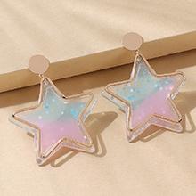 韩版时尚百搭流行树脂五星耳环