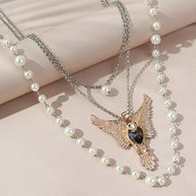 欧美创意个性百搭气质飞鹰珍珠多层毛衣链