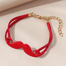 欧美创意百搭个性小胡子画油手链(红色)