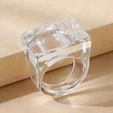 韩版简约百搭流行树脂戒指(白色)