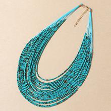 欧美创意夸张百搭个性米珠项链(蓝色)