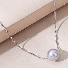 镀真金项链--明珠(灰色)