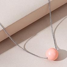 镀真金项链--明珠(粉色)