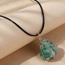 欧美创意百搭流行天然石项链(绿色)