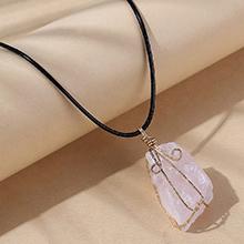 欧美创意百搭流行天然石项链(粉色)