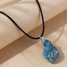 欧美创意百搭流行天然石项链(蓝色)
