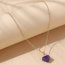 欧美气质大牌小清新创意天然石项链(紫色)
