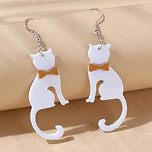 韩版创意百搭小清新小猫耳环(白色)