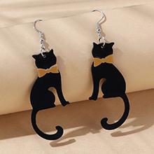 韩版创意百搭小清新小猫耳环(黑色)