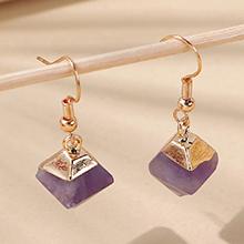 韩版小清新百搭创意气质时尚天然石耳环(紫色)