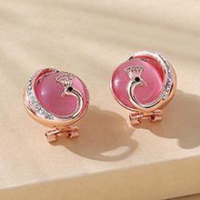 欧美百搭创意复古典雅猫眼石孔雀耳环