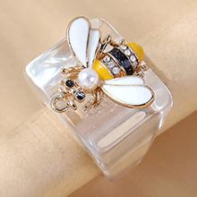 欧美创意百搭ins潮小蜜蜂珍珠画油戒指