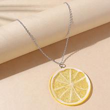 欧美创意小清新百搭树脂柠檬毛衣链(黄色)