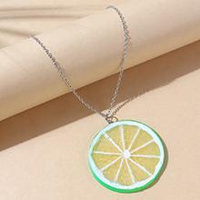 欧美创意小清新百搭树脂柠檬毛衣链(绿色)