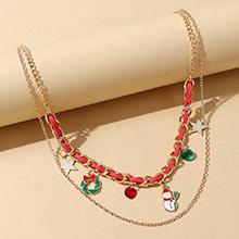圣诞系列ins潮百搭创意时尚雪娃娃圣诞花环双层项链
