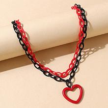 欧美创意百搭个性树脂桃心镂空双层项链