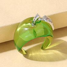 韩版创意小清新百搭简约树脂小苹果戒指(绿色)