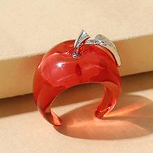 韩版创意小清新百搭简约树脂小苹果戒指(红色)
