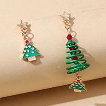 圣诞系列创意百搭小清新不对称圣诞树耳环