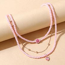 韩版复古小清新创意个性时尚珍珠桃心项链