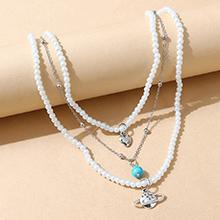 韩版复古百搭小清新创意快乐星球珍珠项链