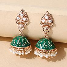 欧美创意个性复古百搭珍珠画油耳环(绿色)