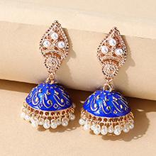 欧美创意个性复古百搭珍珠画油耳环(蓝色)